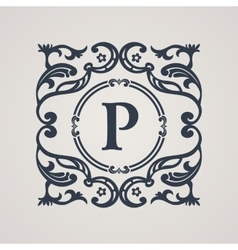 Calligraphic floral emblem vecoor vintage symbol vector