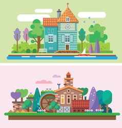 Day and evening summer garden landscape vector image