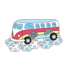 Hippie van with flowers and clouds vector