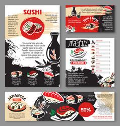 japanese seafood restaurant sushi menu template vector image