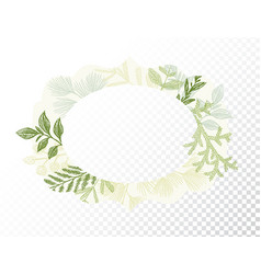 oval border with branches and leaves decoration vector image