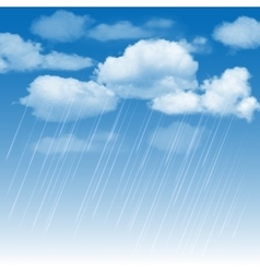 Rainclouds and rain in the blue sky vector
