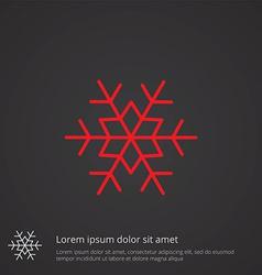 snowflake outline symbol red on dark background vector image