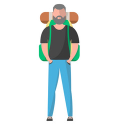 standing hiker with backpack vector image