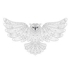 Stylized decorative owl drawing for coloring book vector