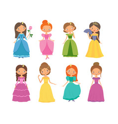 fairy tale set of beautiful princesses vector image