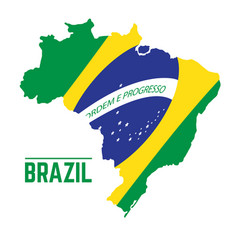 flag and map of brazil vector image