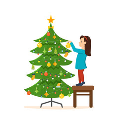 girl decorated with new year christmas vector image