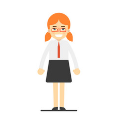 Happy redhead office secretary girl vector