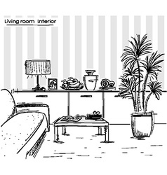 interior of living room design black hand drawing vector image