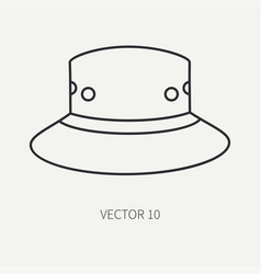 line flat hunt and camping icon hat cap vector image