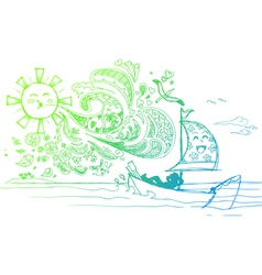 Sketchy doodles of a summer holiday vector image vector image