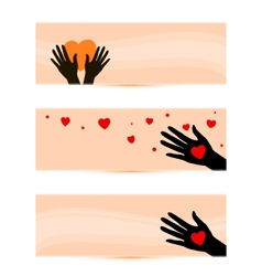 banners templates with hands with hearts vector image vector image