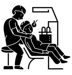 dentist working patient stomatology icon vector image vector image