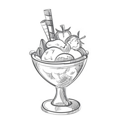 ice cream with waffles and strawberry hand drawn vector image
