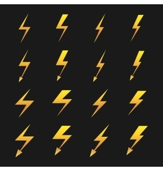 Set of yellow lightnings isolated over black vector image vector image
