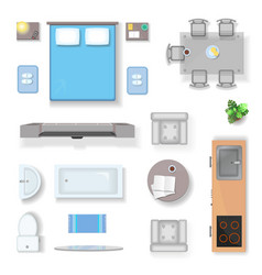 Apartment top view living room bedroom and vector