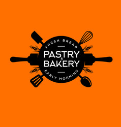 Bakery pastry logo letters circle baker shop icon vector
