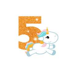 birthday anniversary number with cute unicorn vector image