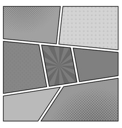 black and white template retro comic book page vector image