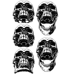 Black scary human skull with canine tattoo set vector