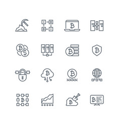 Blockchain and cryptocurrency line icons vector