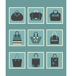 Blue trendy women hand bags and purse icons set vector
