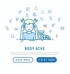 Body ache concept man with headache and pills vector