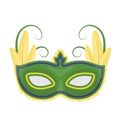 Brazilian carnival mask icon in cartoon style vector