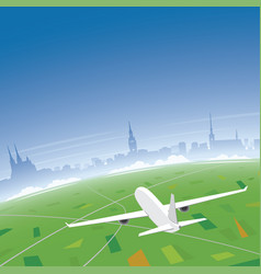 Brno skyline flight destination vector