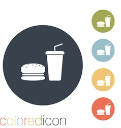 burger and paper cup vector image