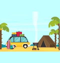 Caravan trailer camping in flat style vector