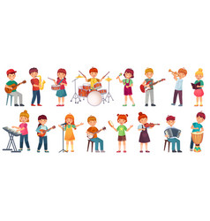 Cartoon kids play music talented kid playing on vector