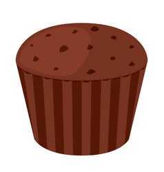 Chocolate cupcake dessert in flat style bakery vector