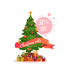 Christmas tree decorated vector