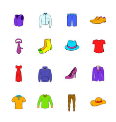 Clothes icons set cartoon vector