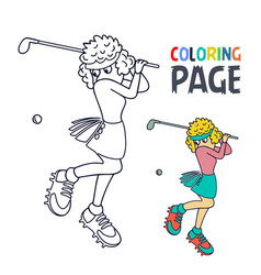 Coloring page with woman golf player cartoon vector