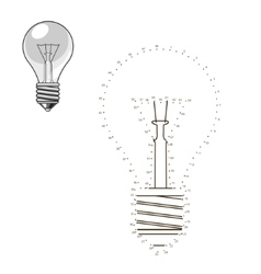 Connect dots to draw lightbulb educational game vector