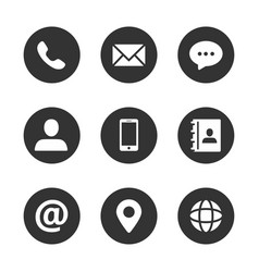 Contact icon set vector