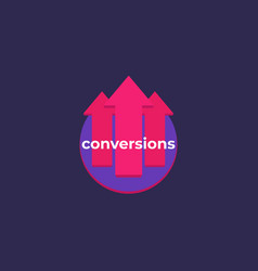 Conversions icon with arrows flat vector