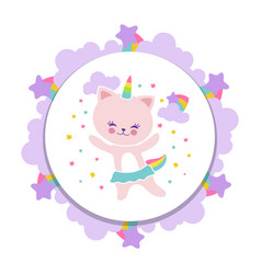 cute happy cat banner design cartoon kitten with vector image