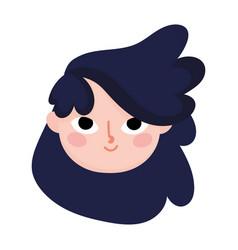 cute teen girl face curly hair cartoon vector image