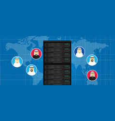data center database server technology connection vector image