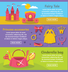 Doll princess banner horizontal set flat style vector