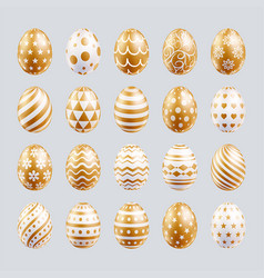 easter eggs set gold color patterns vector image