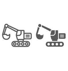 excavator line and glyph icon transport and vector image