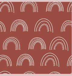 fall themed doodle seamless pattern linear hand vector image