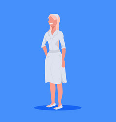 Female doctor nurse blonde woman medical clinic vector