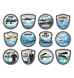 Flying academy air tour and airline icons icon vector