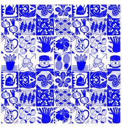 Food kitchen tiles blue pattern background design vector